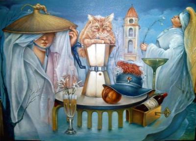 A LA HORA DEL CAFE...UN GATO